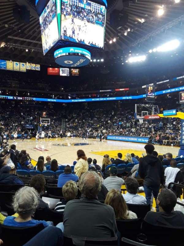 Oracle Arena, vak: 110, rij: 1, stoel: 3