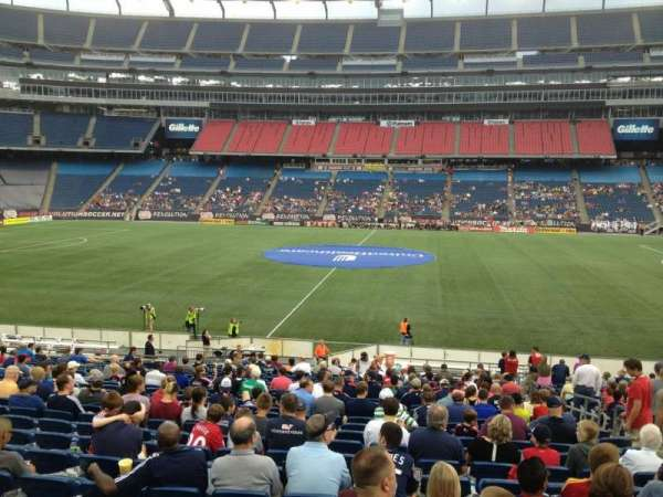 Gillette Stadium, vak: 109, rij: 24, stoel: 8