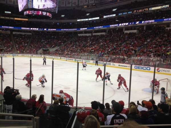 PNC Arena, vak: 129, rij: H, stoel: 9