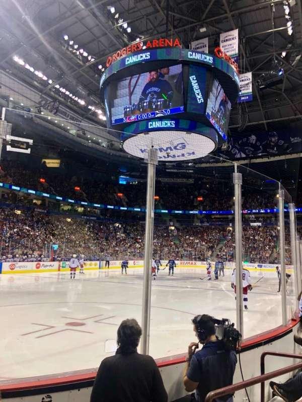 Rogers Arena, vak: 109, rij: 4, stoel: 104
