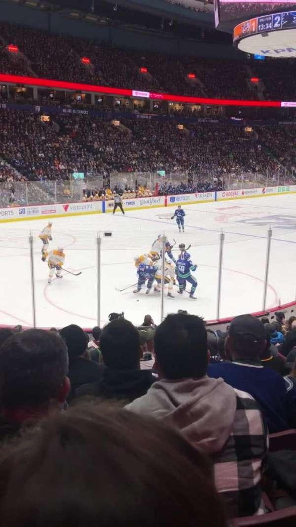 Rogers Arena, vak: 109, rij: 14, stoel: 105