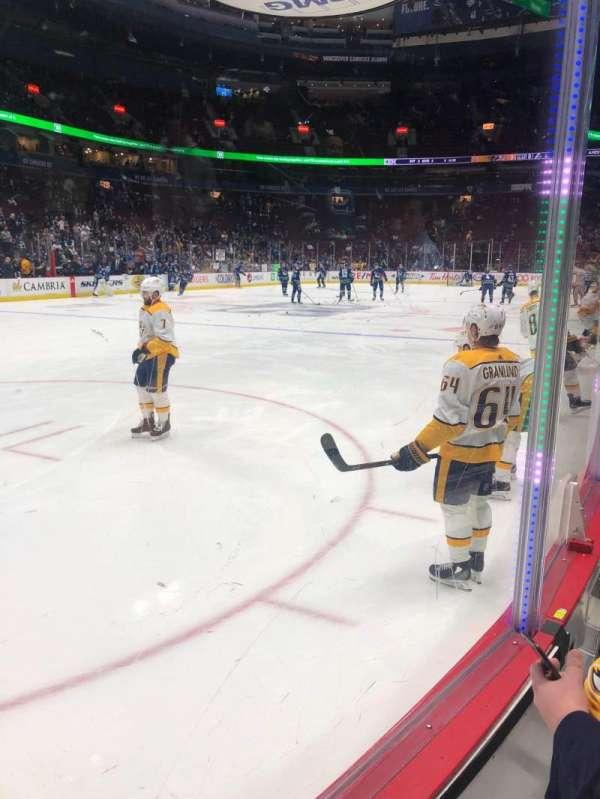 Rogers Arena, vak: 109, rij: 2, stoel: 2