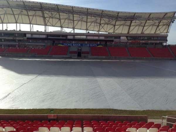 Rio Tinto Stadium, vak: 1, rij: p, stoel: 15