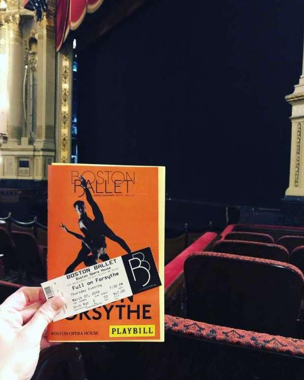 Boston Opera House, vak: Orchestra Right, rij: E, stoel: 50