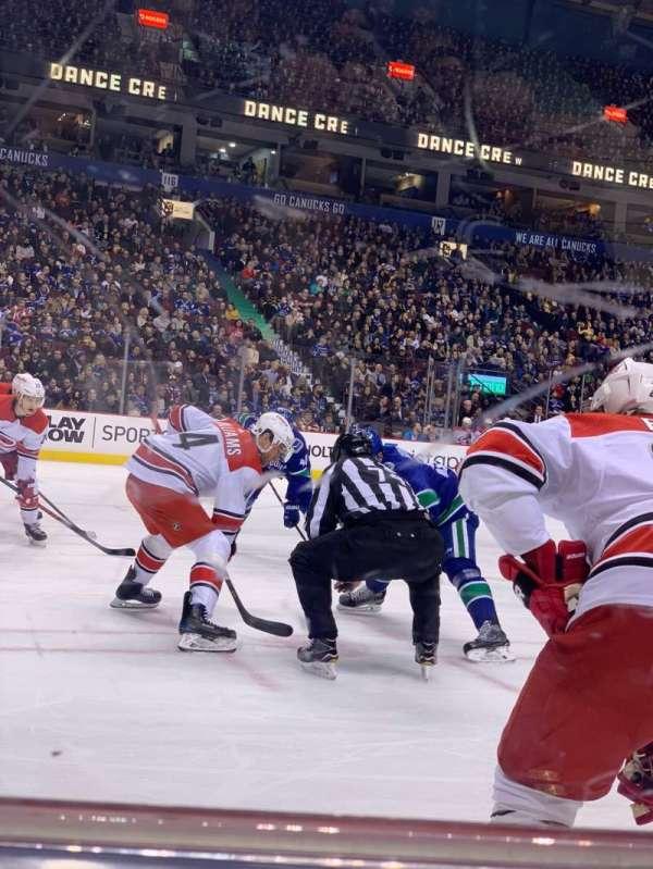 Rogers Arena, vak: 108, rij: 1, stoel: 1