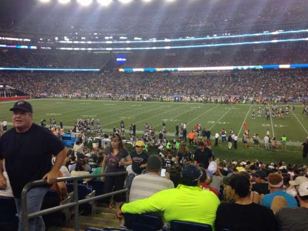Gillette Stadium, vak: 107, rij: 26, stoel: 20