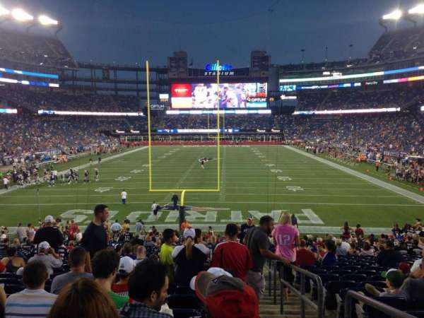 Gillette Stadium, vak: 143, rij: 28, stoel: 1