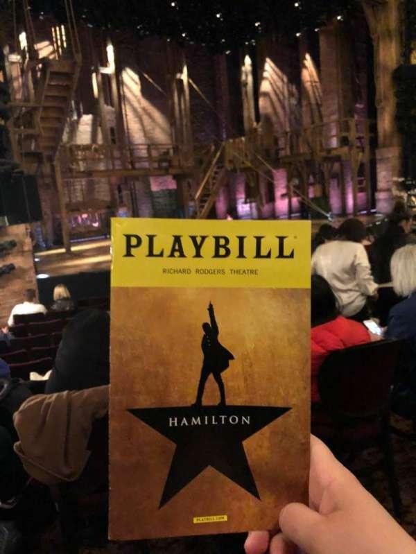 Richard Rodgers Theatre, vak: Orchestra L, rij: L, stoel: 21