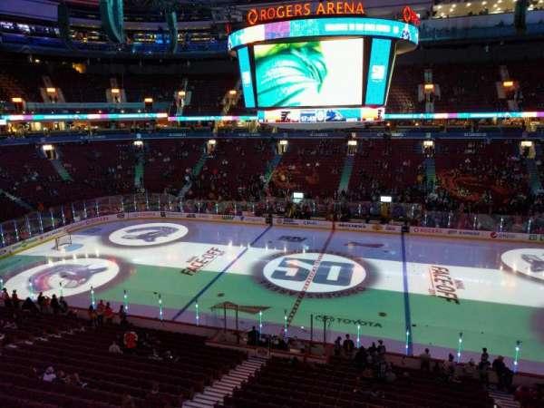 Rogers Arena, vak: 307, rij: 1, stoel: 110