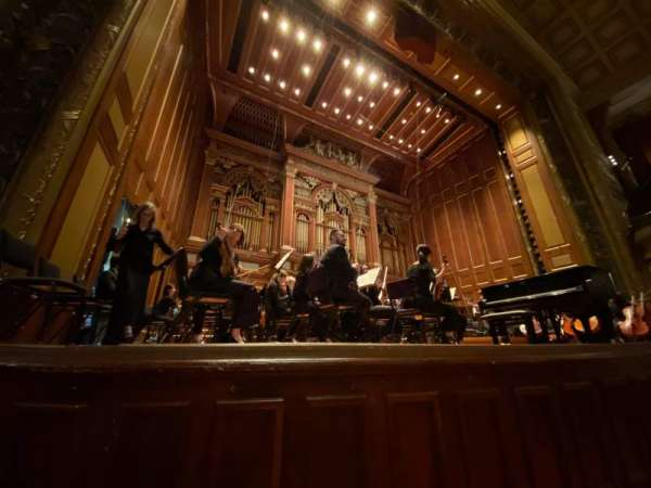Jordan Hall at the New England Conservatory, vak: Orchestra Left, rij: A, stoel: 11