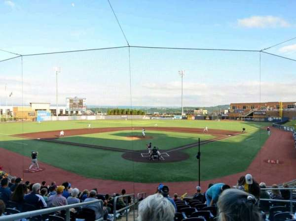 Monongalia County Ballpark, vak: 105, rij: N, stoel: 1