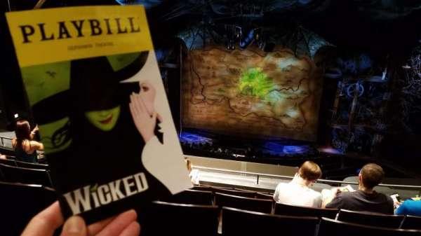 Gershwin Theatre, vak: Rear Mezzanine C, rij: F, stoel: 114