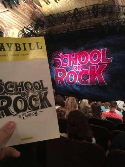 Winter Garden Theatre, vak: Orchestra Right, rij: P, stoel: 8