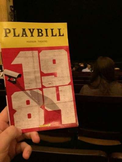 Hudson Theatre, vak: Orch, rij: M, stoel: 110