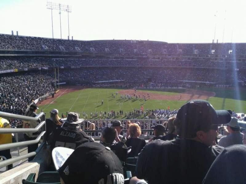 Uitzicht voor Oakland Alameda Coliseum Vak 245 Rij 13 Stoel 15