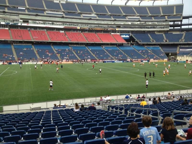 Gillette Stadium, vak: 134, rij: 20, stoel: 7