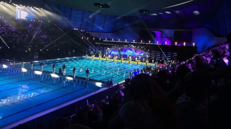 Uitzicht voor London Aquatics Centre Vak F Rij 8 Stoel 163