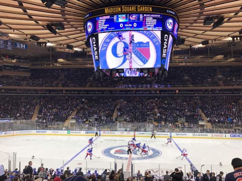 Uitzicht voor Madison Square Garden Vak 107 Rij 18 Stoel 10