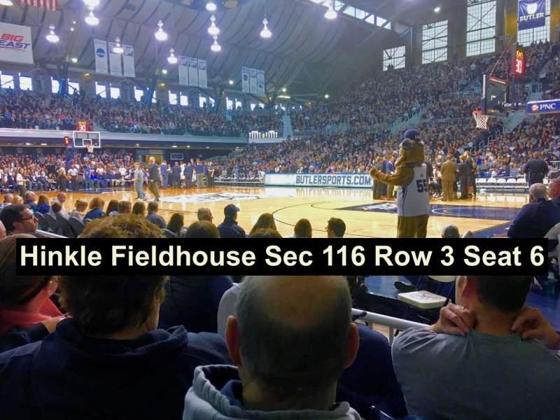 Hinkle Fieldhouse, vak: 116, rij: 3, stoel: 6