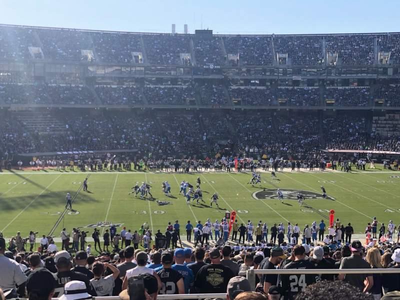 Uitzicht voor Oakland Coliseum Vak 144 Rij 45 Stoel 12