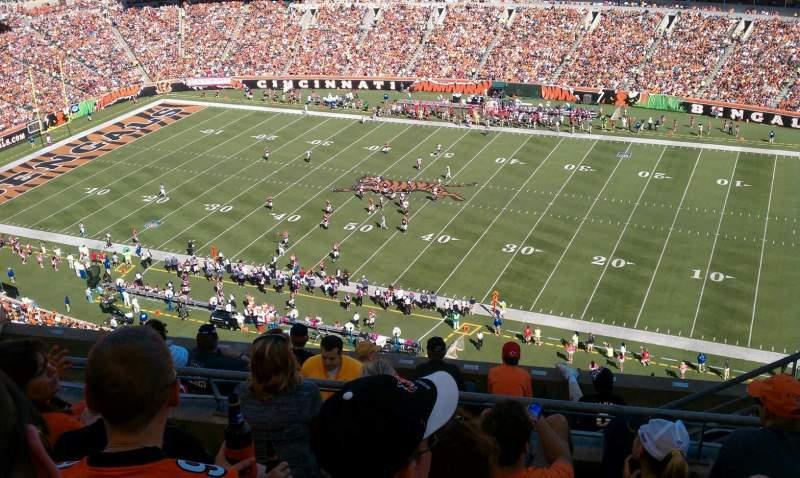 Uitzicht voor Paul Brown Stadium Vak 307 Rij 2 Stoel 4