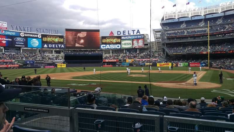 Yankee Stadium, vak: 121b, rij: 3, stoel: 8