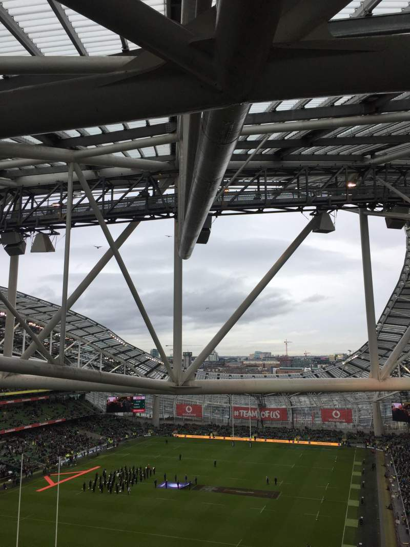 Uitzicht voor Aviva Stadium Vak 512 Rij T Stoel 23