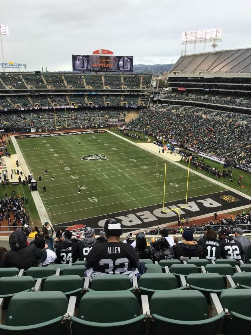 Uitzicht voor Oakland Alameda Coliseum Vak 308 Rij 16 Stoel 10
