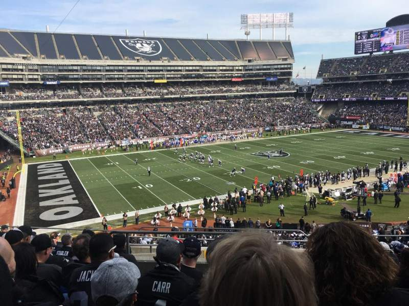 Uitzicht voor Oakland Alameda Coliseum Vak 222 Rij 10 Stoel 4