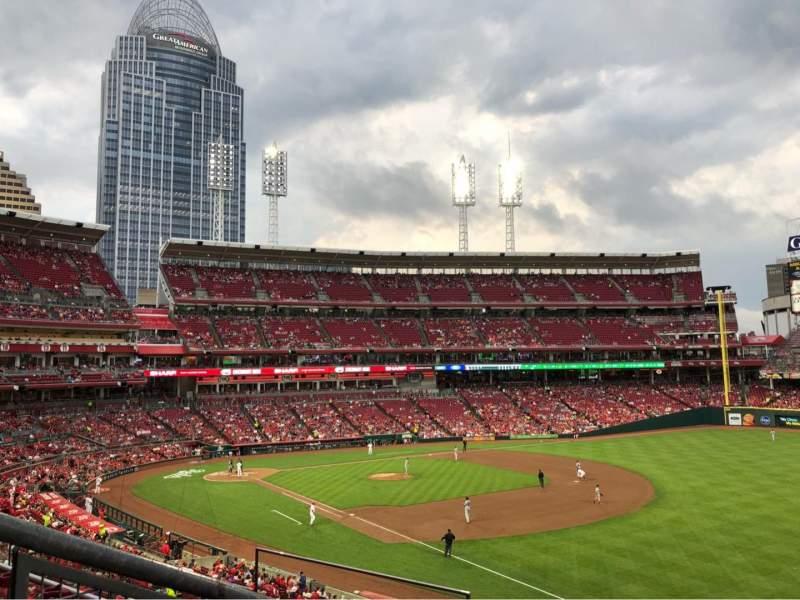 Great American Ball Park, vak: 528, rij: K, stoel: 19