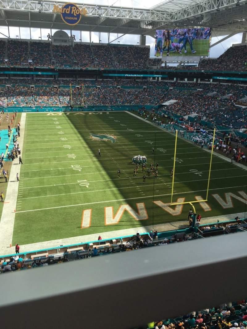 Uitzicht voor Hard Rock Stadium Vak 306 Rij 1 Stoel 8