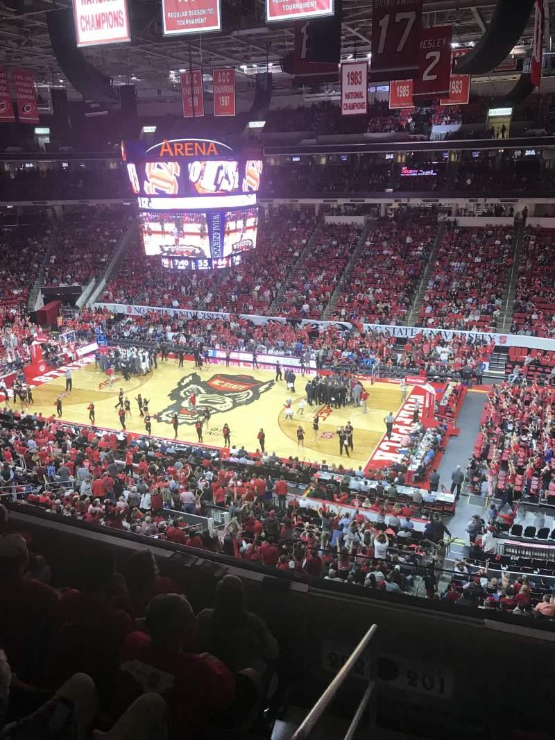 Uitzicht voor PNC Arena Vak 201 Rij D Stoel 22