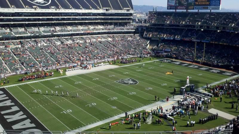 Uitzicht voor Oakland Alameda Coliseum Vak 322 Rij 16 Stoel 21