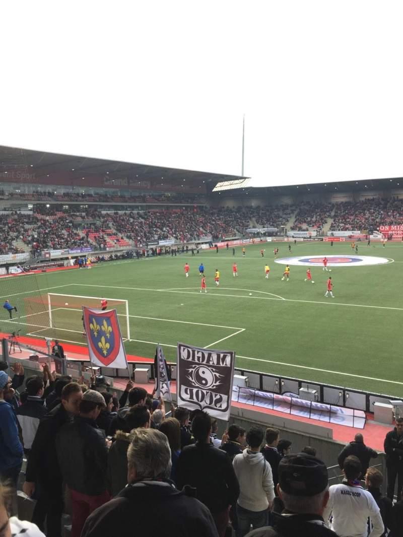 Uitzicht voor Stade Marcel-Picot Vak Tribune Schuth Rij Parcage Stoel Visiteur